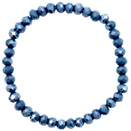 Top faceted bracelets 6x4mm Peacoat Blue-Pearl Shine Coating