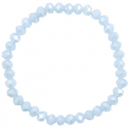 Top faceted bracelets 6x4mm Ice Blue-Pearl Shine Coating