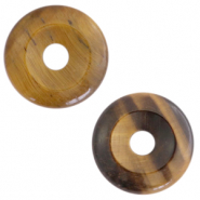 Natural stone charm disc Multicolour Brown