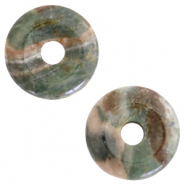 Natural stone charm disc Grayed Green