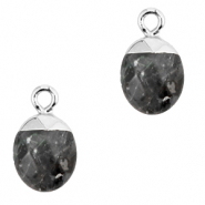 Natural stone charms Anthracite-Silver