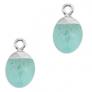 Natural stone charms Icy Morn Blue-Silver