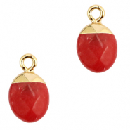 Natural stone charms Crimsom Red-Gold