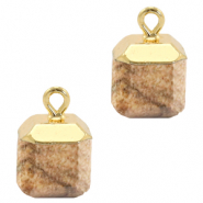 Natural stone charms square Porcini Brown-Gold