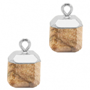 Natural stone charms square Porcini Brown-Silver