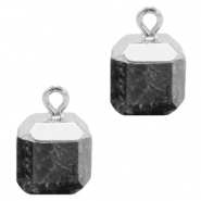 Natural stone charms square Anthracite-Silver