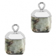 Natural stone charms square Fossil Grey-Silver