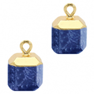 Natural stone charms square Dark Blue-Gold