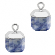 Natural stone charms square Blue White-Silver