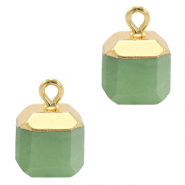 Natural stone charms square Ocean Green-Gold