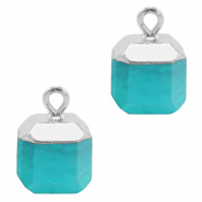 Natural stone charms square Turquoise Blue-Silver