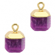 Natural stone charms square Purple-Gold