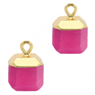 Natural stone charms square Magenta Pink-Gold