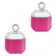Natural stone charms square Magenta Pink-Silver