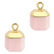 Natural stone charms square White Rose-Gold