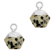 Natural stone charms hexagon Greige-Silver