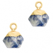 Natural stone charms hexagon Blue White-Gold