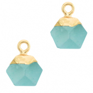 Natural stone charms hexagon Turquoise Blue-Gold