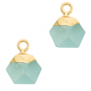Natural stone charms hexagon Icy Morn Blue-Gold