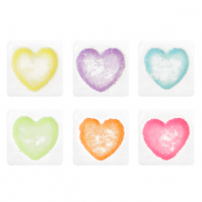 Acrylic letter beads hearts White-Multicolour
