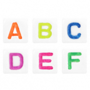 Acrylic letter beads mix White-Multicolour Bright