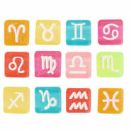 Acrylic letter beads zodiac sign mix Multicolour Transparent-White