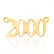 Stainless steel charms/connector year 2000 Gold