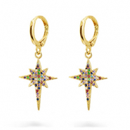 Zirconia rainbow creole earrings with star Gold