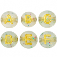 Acrylic letter beads mix crackled Transparent-Gold