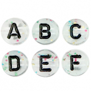 Acrylic letter beads mix crackled Transparent-Black