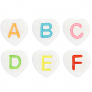 Acrylic letter beads heart mix White-Multicolour