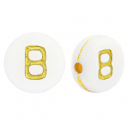 Acrylic letter beads B White-Gold