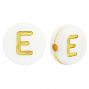 Acrylic letter beads E White-Gold