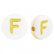 Acrylic letter beads F White-Gold