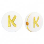 Acrylic letter beads K White-Gold