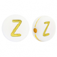 Acrylic letter beads Z White-Gold