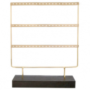 Jewellery display three rows for earrings with wooden standard Dark Brown-Gold