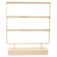 Jewellery display three rows for earrings with wooden standard Natural-Gold