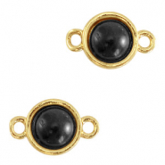 Natural stone charms connector 8mm Black-Gold
