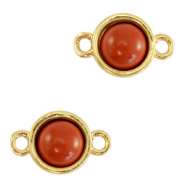 Natural stone charms connector 8mm Terracotta Brown-Gold