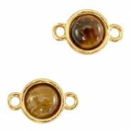 Natural stone charms connector 8mm Topaz Brown-Gold