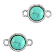 Natural stone charms connector 8mm Marble Turquoise-Silver
