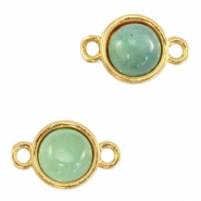 Natural stone charms connector 8mm Ocean Green-Gold