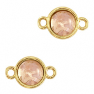 Natural stone charms connector 8mm Blossom Pink-Gold