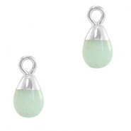 Natural stone charms drop Ocean Green-Silver