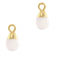 Natural stone charms drop White -Gold