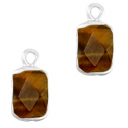 Natural stone charms rectangle Topaz Brown-Silver