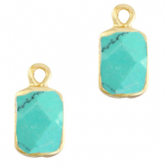 Natural stone charms rectangle Marble Turquoise-Gold