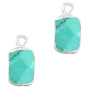 Natural stone charms rectangle Marble Turquoise-Silver
