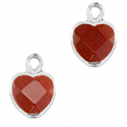 Natural stone charms heart Terracotta Brown-Silver